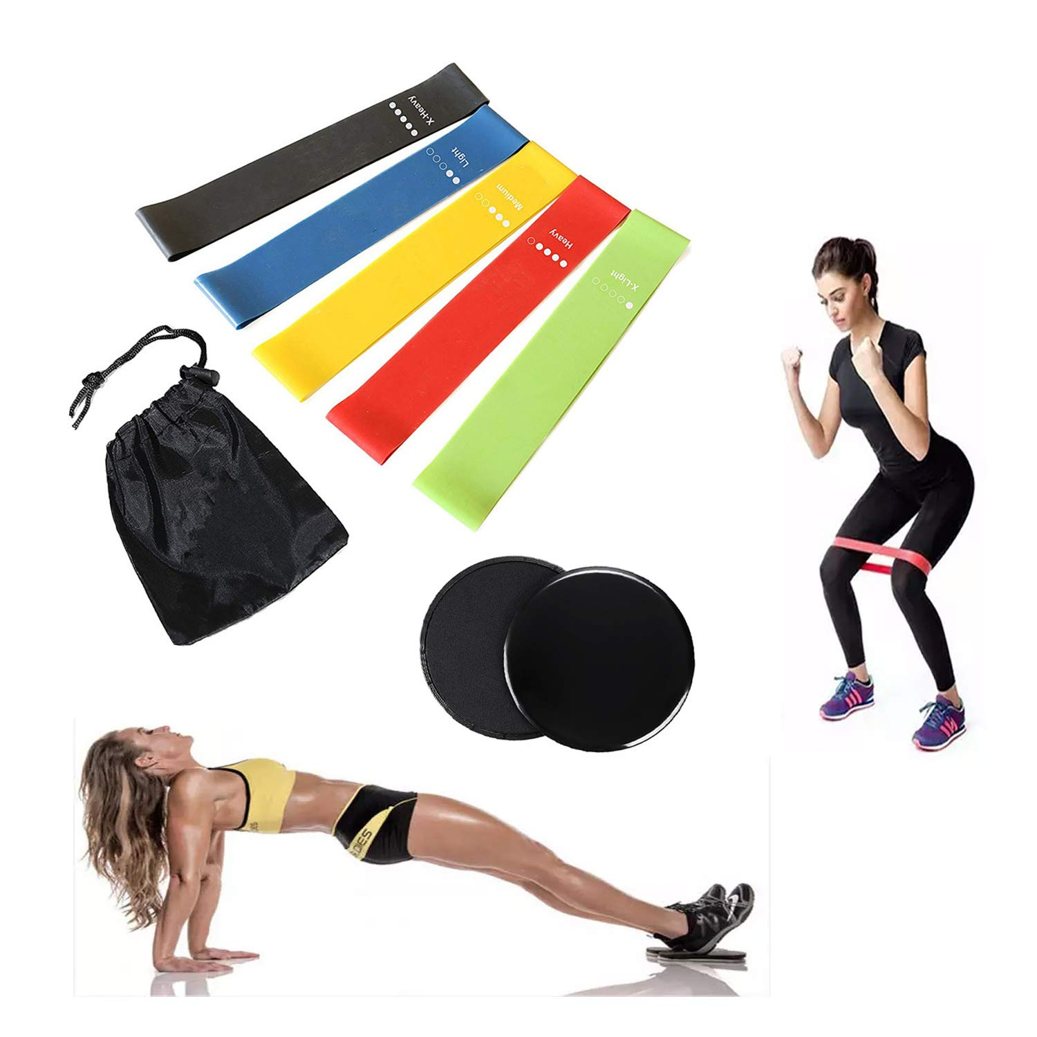 iFunLong Exercise Loop Resistance Bands Latex Free & Core Sliders Glides For Legs Home Gym Workout, Gliding Discs & Stretch Bands For Yoga Crossfit Fitness Body Building Men Women FG-ZQTG-RCFP