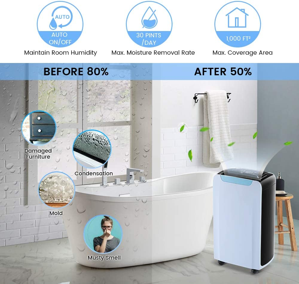 Eurgeen 1000 sq ft Dehumidifier for Home Basement Bedroom with Continuouse Drain Hose Bathroom Up to 30 Pints//Day