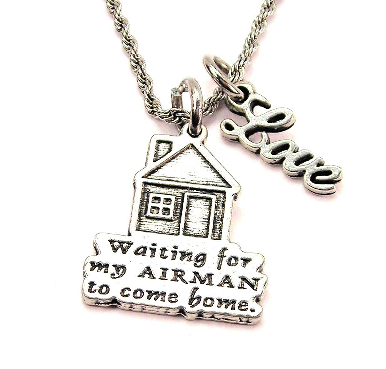 ChubbyChicoCharms Waiting for My Airman to Come Home Stainless Steel Rope Chain Cursive Love Necklace