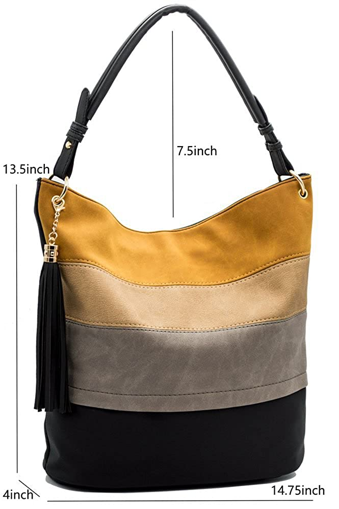 41e1c06f3434 Amazon.com  Handbags for Women Totes Hobo Shoulder Bags Tassels Stripes Top  Handle Bags Black  Shoes