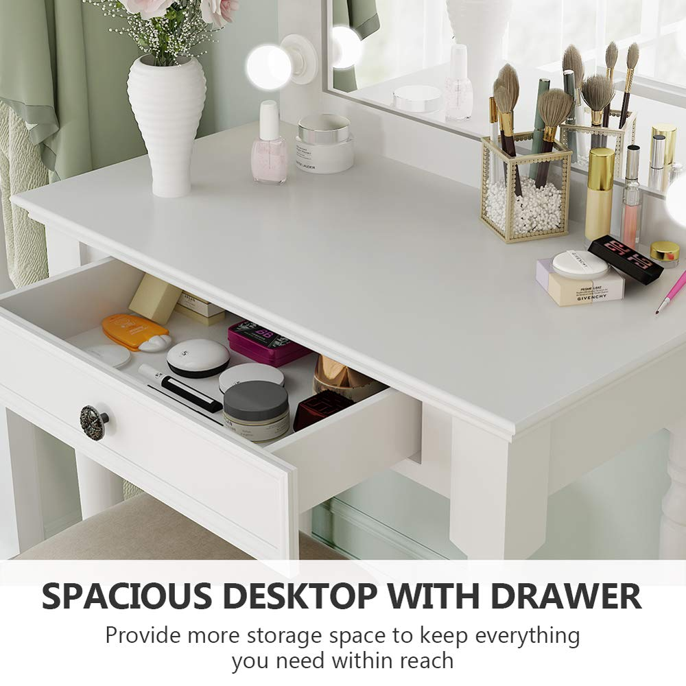 Tribesigns White Vanity Set with Lighted Mirror, Makeup Dressing Table and Stool Set with Large Drawer, Dresser Table Set for Women (White) by Tribesigns (Image #7)