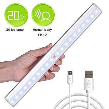 Sensor de movimiento luces de armario, Rayhome 20 LED USB Batería Bajo Armario Luz LED
