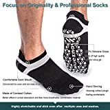 Muezna Men's Non-Slip Yoga Socks, Anti-Skid