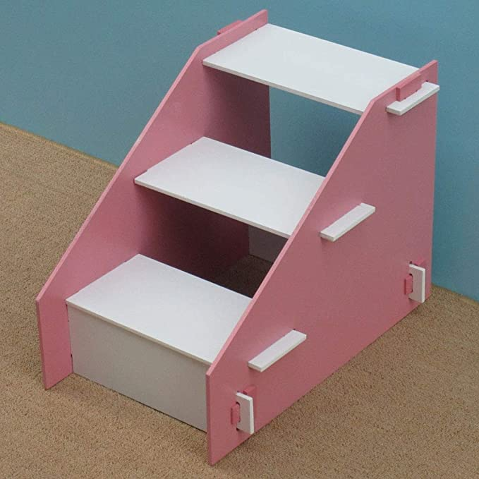 XUEYAN Taburete de Madera de 3 Pasos para niños, Escalera de Mascotas Escalera para Perros pequeños y Gatos para Camas Altas y sofá (Color : Pink): ...