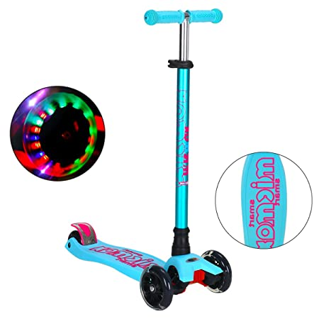 Bomessa Scooters for Kids Adjustable Height 3 Wheel Lean to Steer Scooter for Boys Girls with Luminous Wheels