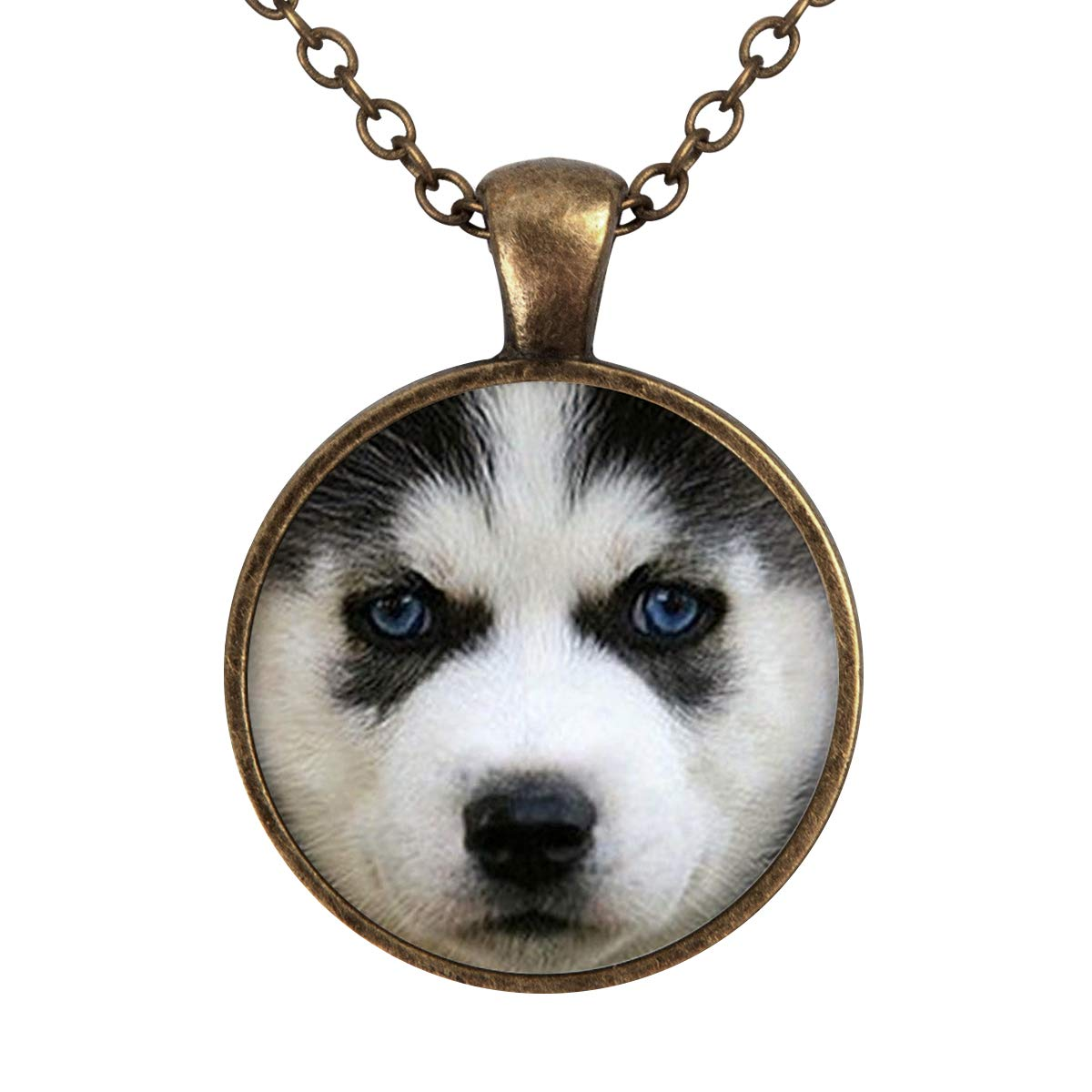 Lightrain Huskie Dog Face Pendant Necklace Vintage Bronze Chain Statement Necklace Handmade Jewelry Gifts