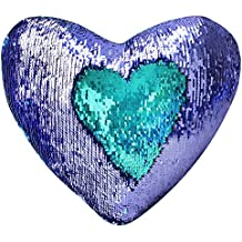 """Mermaid Throw Pillow with Insert , Play Tailor Reversible Sequins Pillow Heart Shape Decorative Cushion(13"""" x 15"""",Bright Green+Bright purple)"""