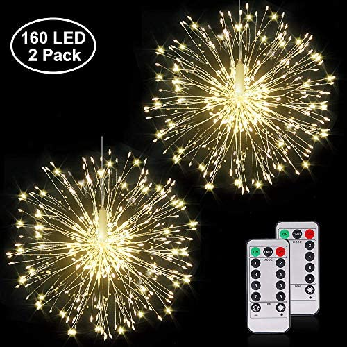2 Pack Firework Copper Wire Lights, 8 Modes Dimmable Fairy Lights, Waterproof Starburst Lights Battery Operated with Remote Control for Home, Patio, Parties, Wedding, Christmas 160 LED