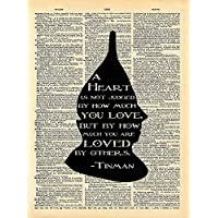 Wizard of Oz Tinman Art - Heart Loved By Others Quote - Vintage Dictionary Print 8x10 inch Home Vintage Art Abstract Prints Wall Art for Home Decor Wall Decor Living Room Bedroom Ready-to-Frame