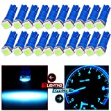 honda accord clock light bulb - cciyu 20x Blue T5 Blue Dashboard Instrument Panel Instrument Speedometer Gauge Cluster 37 73 74 79 17 57 5050 1-SMD LED Light Bulb 12V (ice blue)