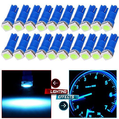 (cciyu 20x Blue T5 Blue Dashboard Instrument Panel Instrument Speedometer Gauge Cluster 37 73 74 79 17 57 5050 1-SMD LED Light Bulb 12V (ice blue))