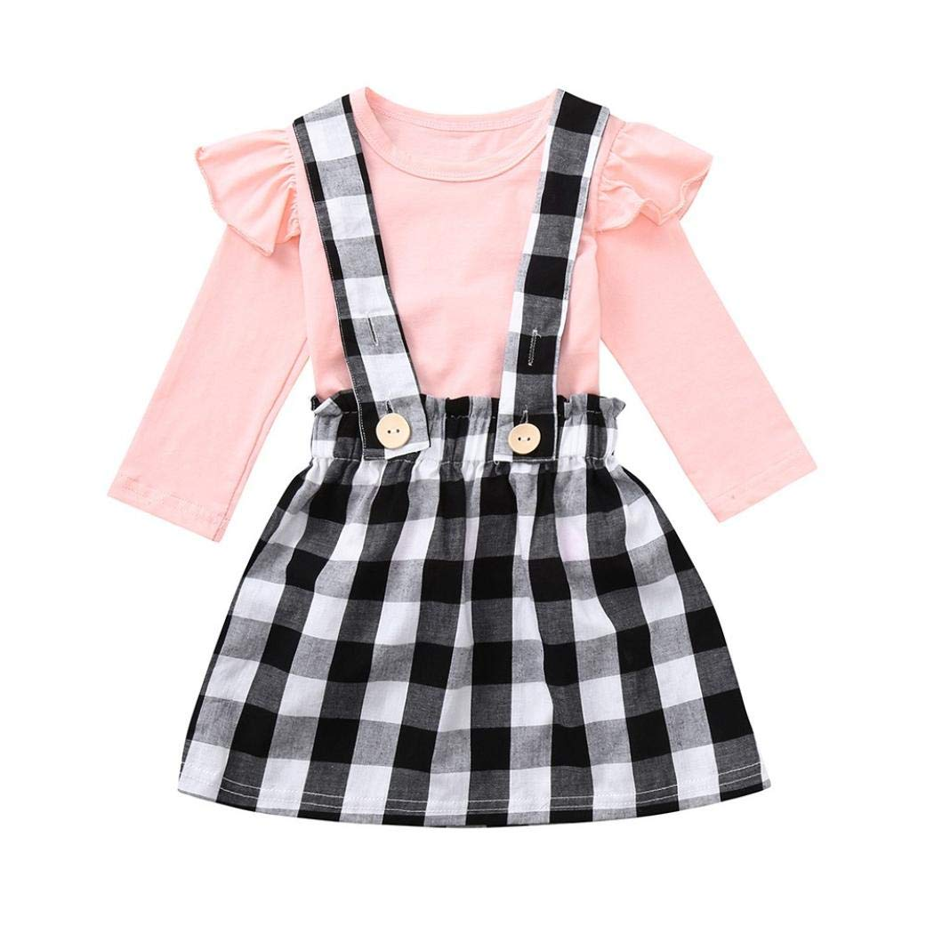 Little Girl Autumn Skirt Sets,Jchen(TM) Toddler Baby Kids Girls Long Sleeve Solid Ruched Tops Plaid Skirt Outfits 0-4 Y (Age: 18-24 Months)