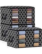 3 Pack Foldable Clothes & Quilt Storage Bag 100L Large Capacity Closet Organizers Boxes and Bins with Zipper, Handle and Clear Window for Blanket Quilt Clothing Plush Toys Box, TOJUNE (Black)