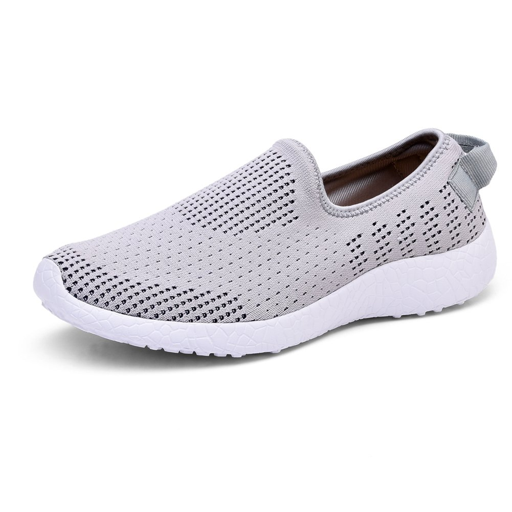 KONHILL Men's Casual Walking Shoes - Knit Breathable Tennis Athletic Running Sneakers Shoes B075V33V4G 9.5 D(M) US|8255 Gray