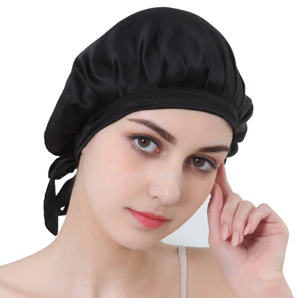 Oshide Natural Silk Sleep Night Cap Head Cover Bonnet for Hair Beauty-5 Colors For Choose