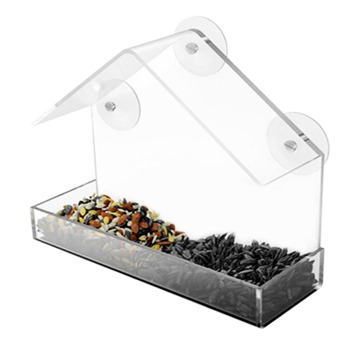 Muzi - Comedero para Pájaros con Ventosa de acrílico y Bandeja Deslizante para Semillas, Fácil de Limpiar y Rellenar 15x15cm MUZI0MA0AZ1W1