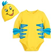 Disney Flounder Costume Bodysuit for Baby - The Little Mermaid Size 3-6 MO Yellow