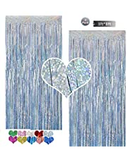 Metallic Tinsel Foil Fringe Curtain Backdrop 2 Packs 3ftx8ft Laser Party Backdrop Curtain,CYLMFC Rain Curtain for Birthday Party Decorations Photo Booth Backdrop Christmas Halloween - Light Blue