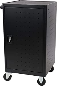 """24 Bay Fully Assembled Rolling, Charging Cart Station for Classroom and Office- for use with Chromebooks, iPad, Tablets and Laptop Computers; Secure Locking Cabinet Storage-Store up to 13"""""""
