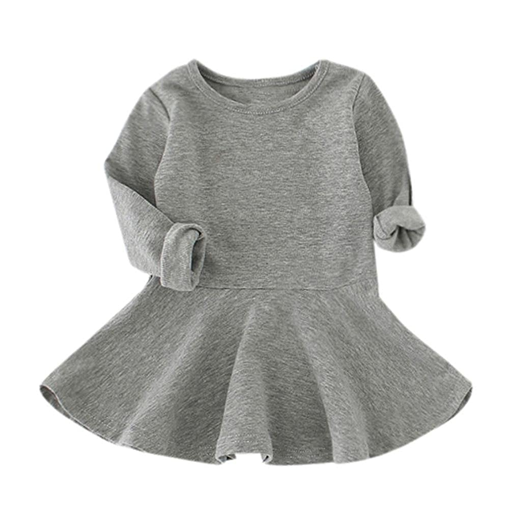 XILALU Baby Girls Candy Color Solid Princess Casual Toddler Kids Dress