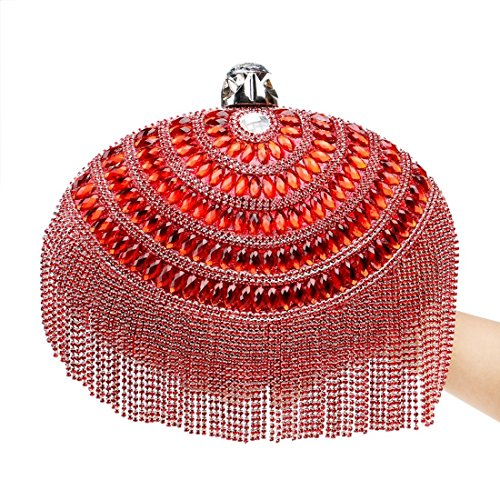 Evening Red American Color bag European evening Bag Ladies Clutch Evening Luxury Red Tassel Fly And Dress z4EqBZwZ7x