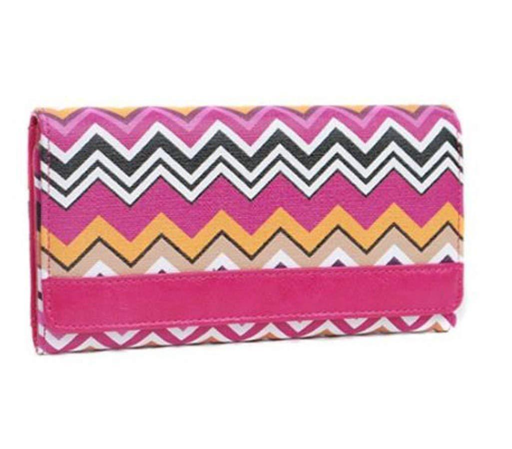 Chevron Vinyl Clutch Wallet Bag (Fuchia Pink)