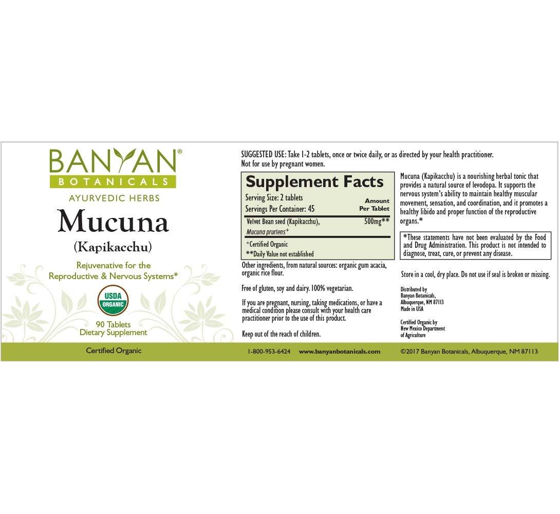 Banyan Botanicals Mucuna (Kapikacchu) - USDA Organic - 90 Tablets - Natural Source of L-dopa - Nervous System Support* by Banyan Botanicals (Image #1)
