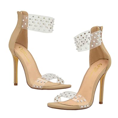 a285785fa0 Embellished Silver Tone Stud Clear Transparent Lucite One Band Ankle Strap  High Heel Sandals for Women