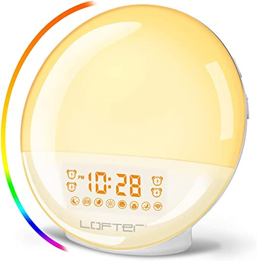LOFTER Reveil Lumiere Intelligent Wake Up Light LED Lampe de Radio Réveil Numérique Compatible Avec Alexa Echo et Google Home 7 Sonneries Naturelles