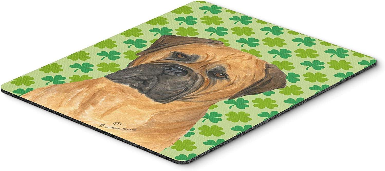 Caroline's Treasures SS4448MP Bullmastiff St. Patrick's Day Shamrock Portrait Mouse Pad, Hot Pad or Trivet, Large, Multicolor [並行輸入品]