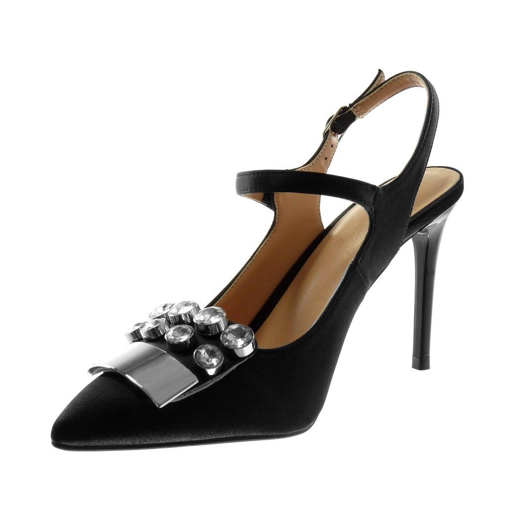 Scarpe Moda Scarpe Decollete Stiletto Open-Back Mary Jane Donna Strass Gioielli Metallico Tacco Stiletto Alto 10 CM Angkorly