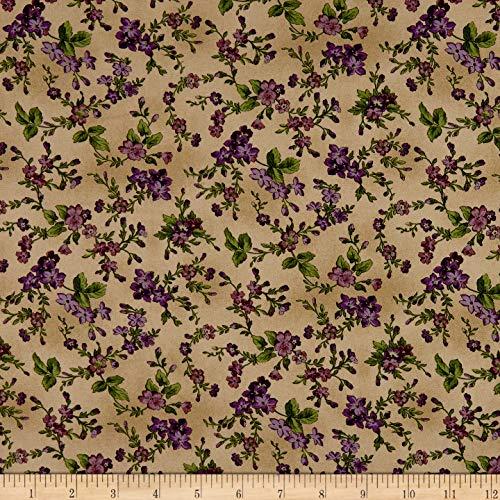 - Maywood Studio Aubergine Trailing Flowers Fabric, Antique, Fabric By The Yard