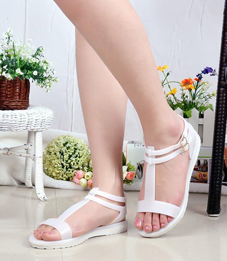 Minetom Femme Fille Été Plage Confortableable Chaussures Plastique Gelée Sandales Plat Couleur Unie Loisir D'extérieur Sandales oUTbECy6VX