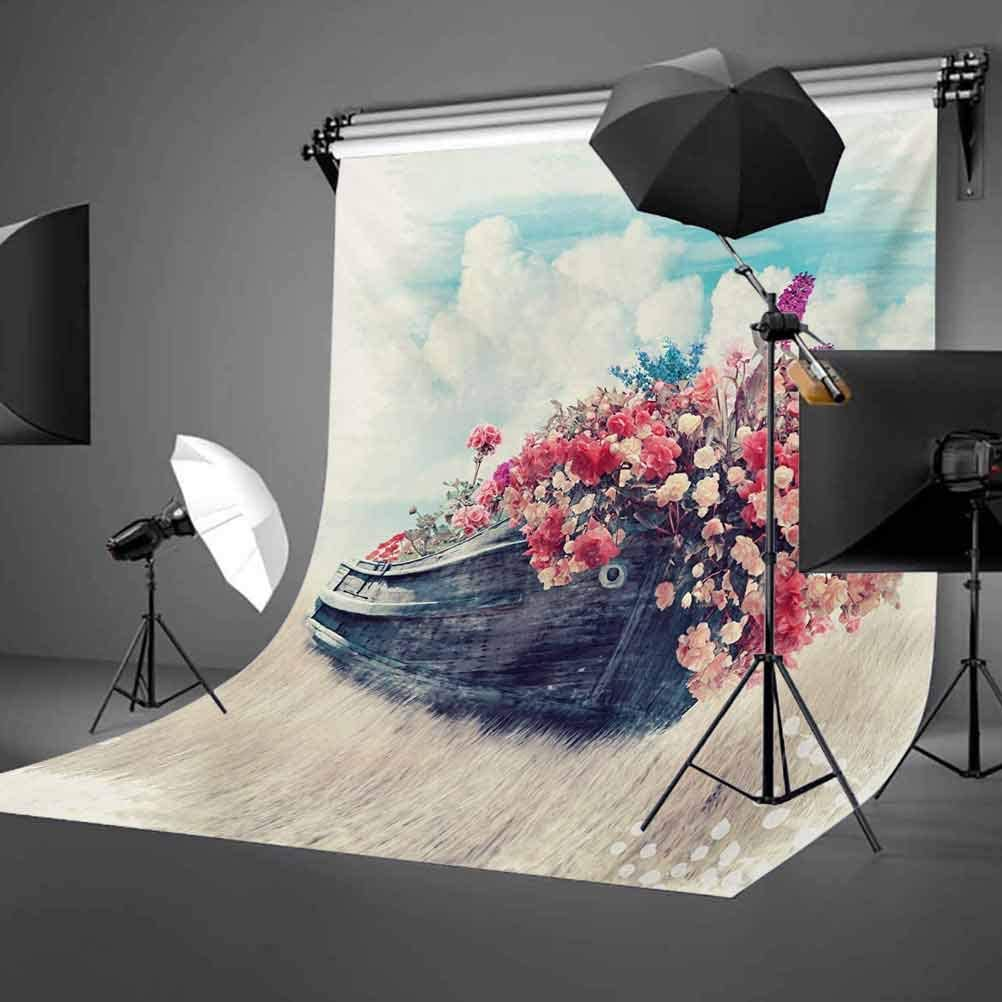 Abstract Watercolored Image with Flowers on a Boat Surreal Image with Sky Wiev Art Background for Party Home Decor Outdoorsy Theme Vinyl Shoot Props Multicolor Floral 10x12 FT Photography Backdrop