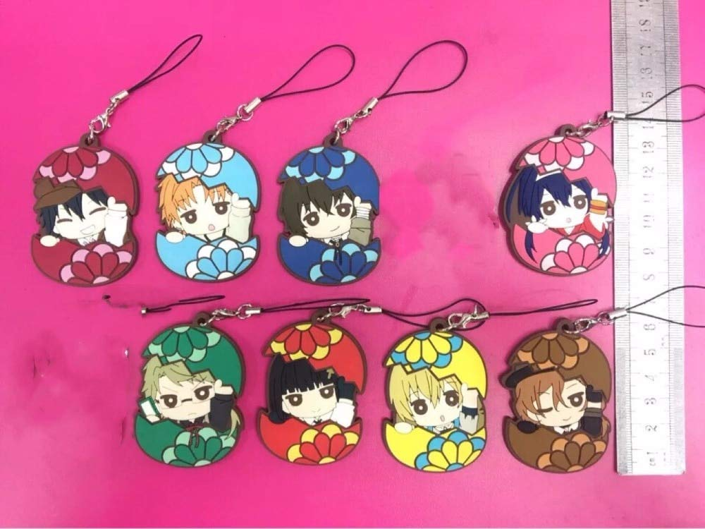 Momoso_Store 8pcs/lot Bungo Stray Dogs Anime Dazai Osamu Atsushi Nakaji Edogawa Ranpo Doppo Kunikida Rubber Strap/phone Charms