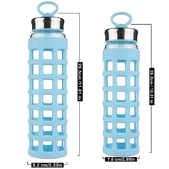 SHBRIFA Botella de Agua de Vidrio de Borosilicato Deportivo 700ml / 1000ml / 1 Litro, Botella de Agua de Cristal con Funda de Silicona y Tapa del ...