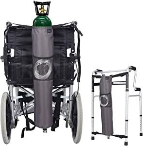 "Oxygen Bag Backpack Holder Wheelchair Walker Portable Oxygen Tank Carrier""D"" and""E"" Cylinders Bottle for Medical, Home, Hospital (Gray)"
