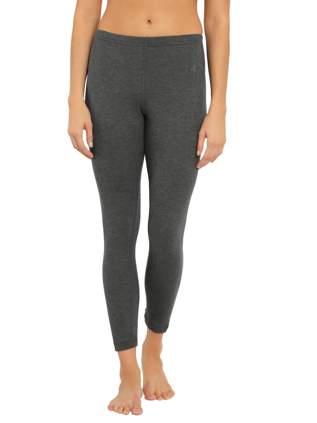 Women's Cotton Thermal Leggings (2520-0105-CHAML_Charcoal Melange_Large)