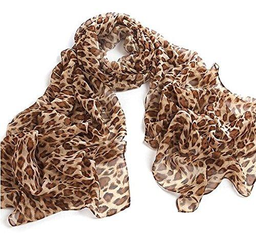 JOVANAS FASHION Leopard Animal Print Chiffon Scarf Wrap Stole Shawl (Light Brown) ()