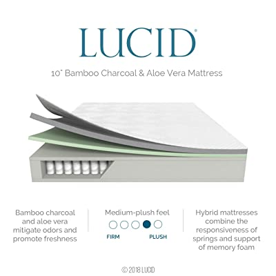 LUCID 10 Inch Full Hybrid Mattress