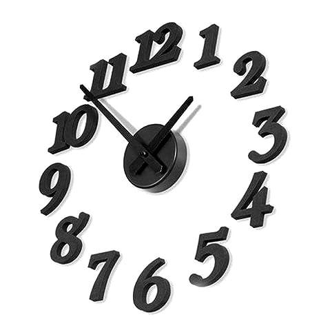 TrifyCore Reloj de Pared con Números Adhesivos Moda DIY Reloj de Pared de Esponja (Negro