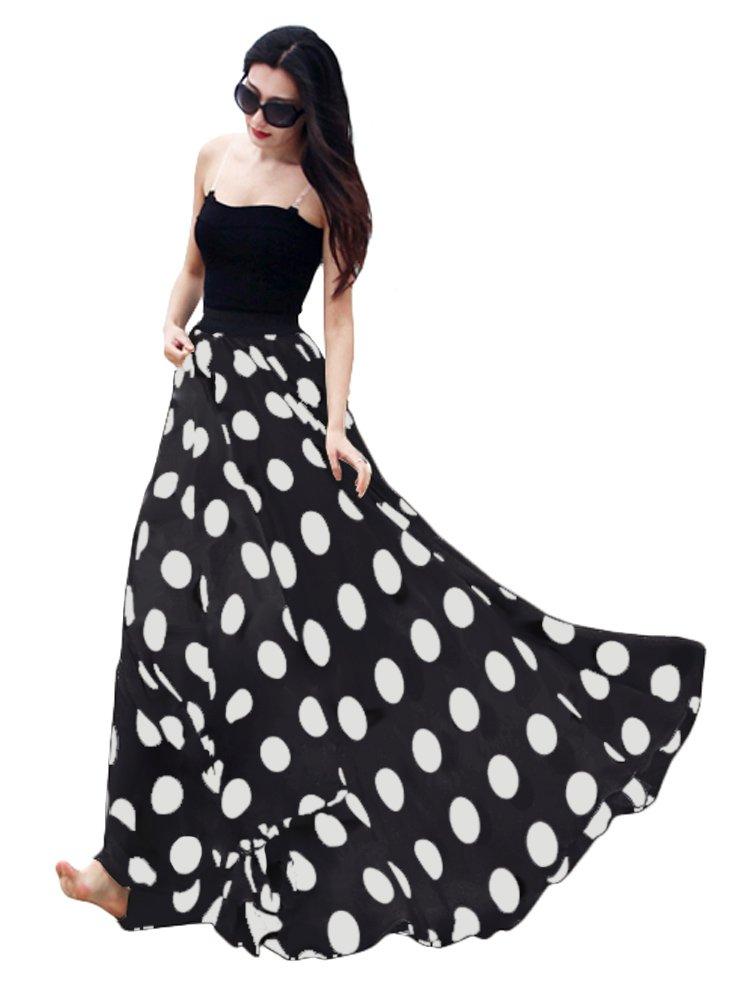 Urban CoCo Women's Fashion Chiffon High-Waist Summer Long Maxi Skirt (Large, Black)