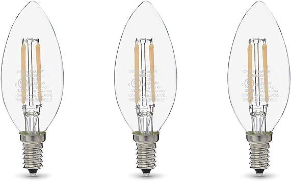 Amazon Basics 60W Equivalent, Clear, Daylight, Dimmable, 15,000 Hour Lifetime, B11 (E12 Candelabra Base) LED Light Bulb   3-Pack