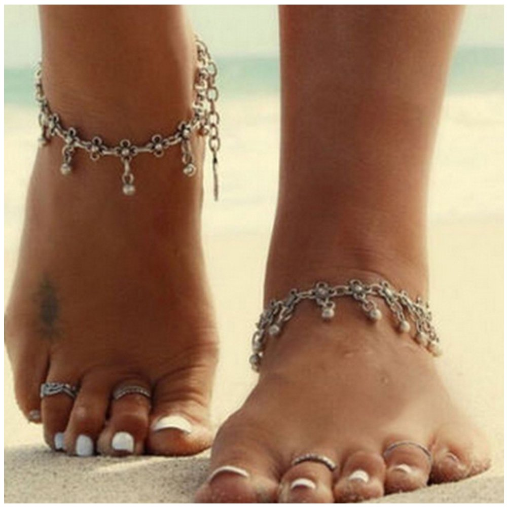 Womens Hollow Out Carved Flower Tassel Foot Jewelry Anklet Silver MINGHUA