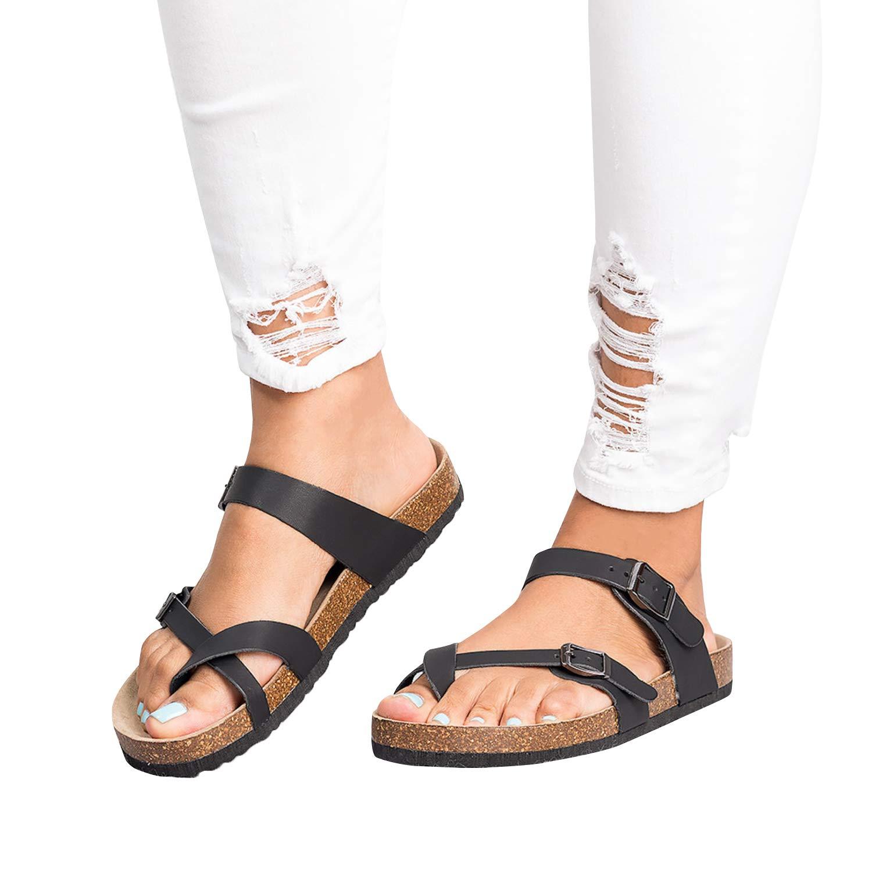 4bf495b3850 Amazon.com  Liyuandian Womens Cross Toe Double Buckle Strap Summer Leather  Flat Mayari Sandals  Clothing