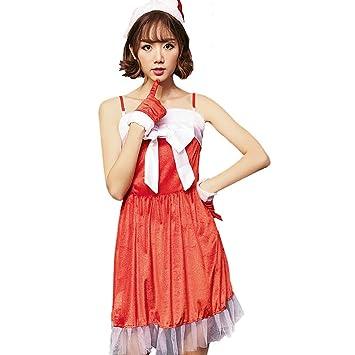 94d15a1a9ad13 S C Live クリスマスコスプレ衣装 レディース リボンフリルサンタワンピースドレス4点セット キャミサンタ