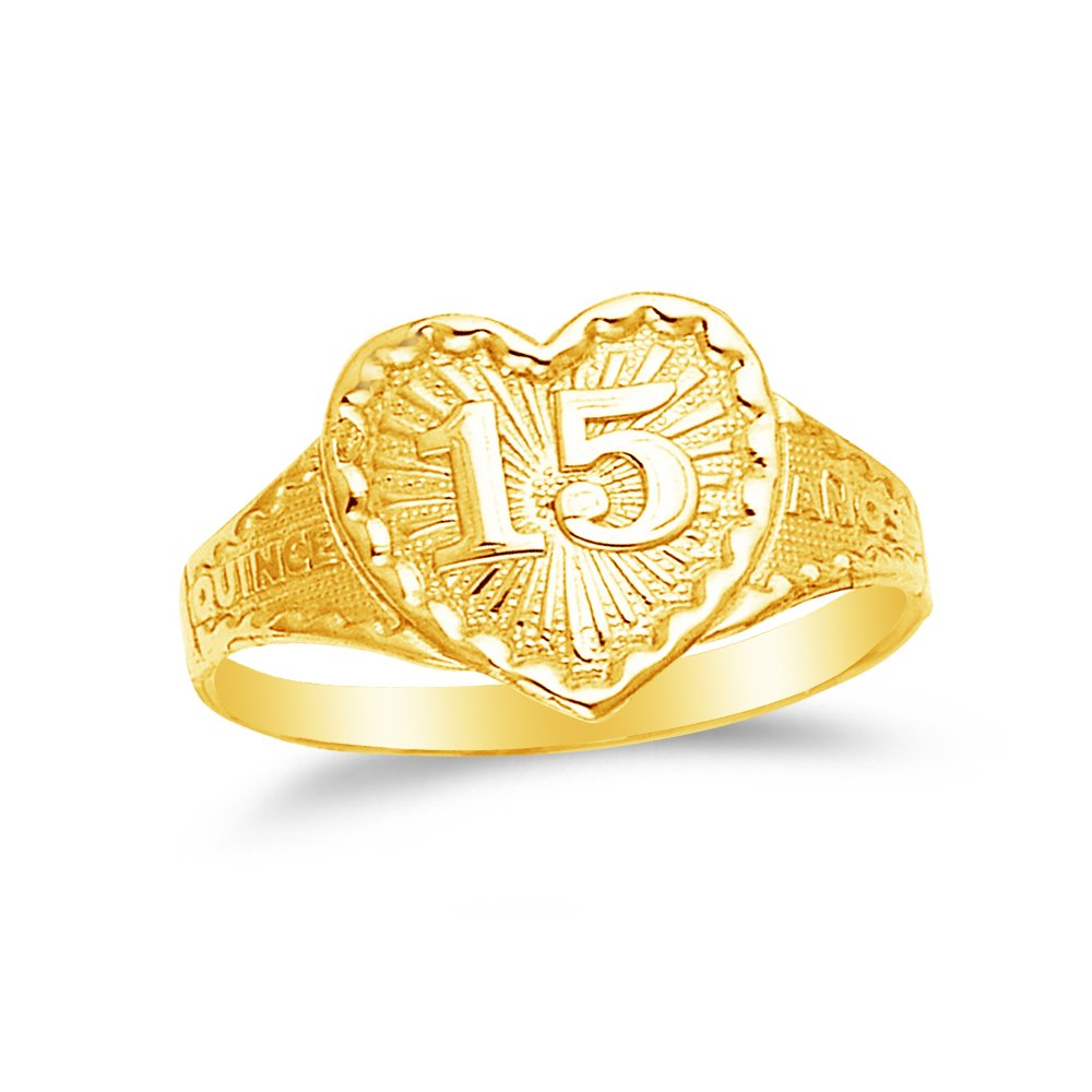 Size 8.5 Jewel Tie Solid 14k Yellow Gold 15 Years Birthday Heart Quince Anos Ring