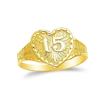fd183e64c8e7 14 K Amarillo Oro 15 años cumpleaños corazón quince anos Anillo  Amazon.es   Joyería