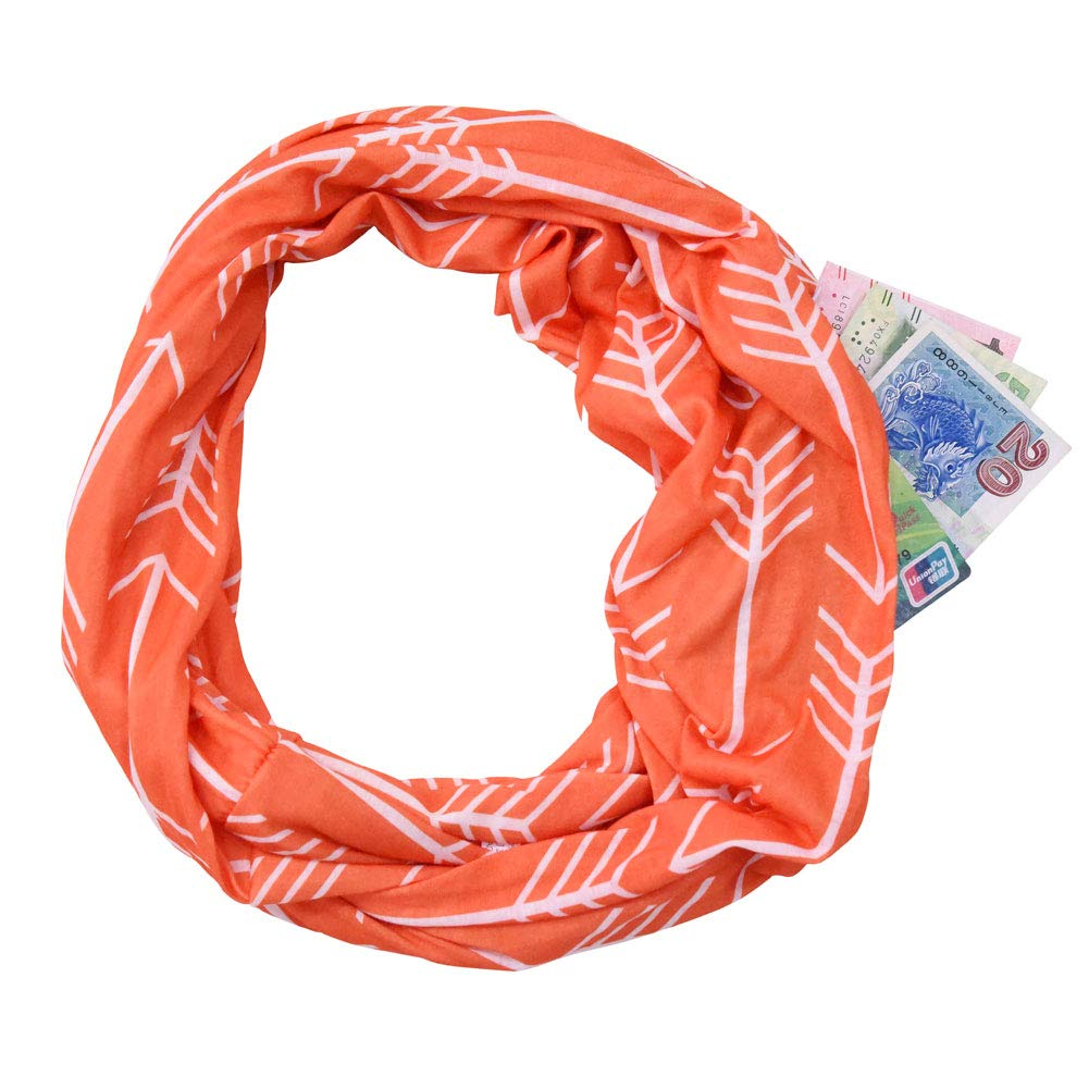 orange Infinity Scarf With Zipper Hidden Pocket Arrow Print Soft Stretchy Fashion Travel Scarves for Women Girls