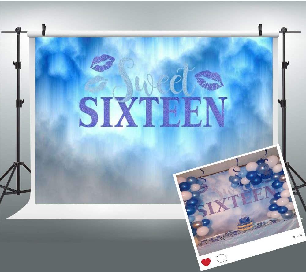 Sweet 16 Backdrop Purple 9x6ft Girls 16th Birthday Photography Background 16 Fashion Show Party Banner Backdrops LUCKSTY LULF516